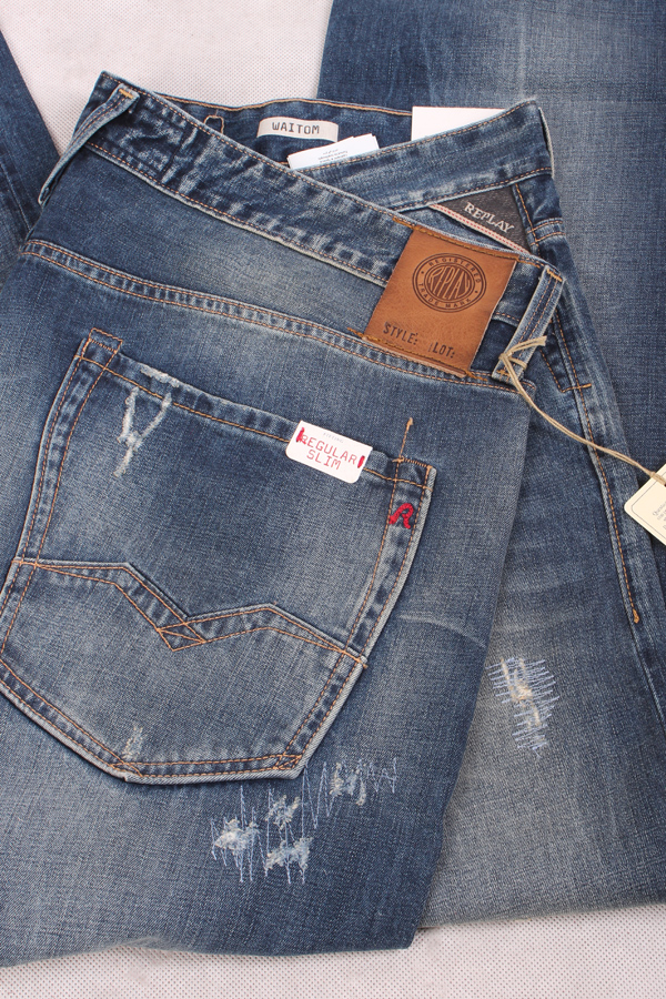 Denim Blau Herren Jeans Hose Trousers SLIM REPLAY M914 443 660 010 ANBASS